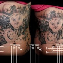 Tatuaje búho en barriga
