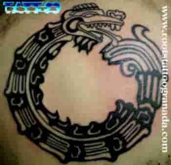 Tatuaje tribal serpiente plumada