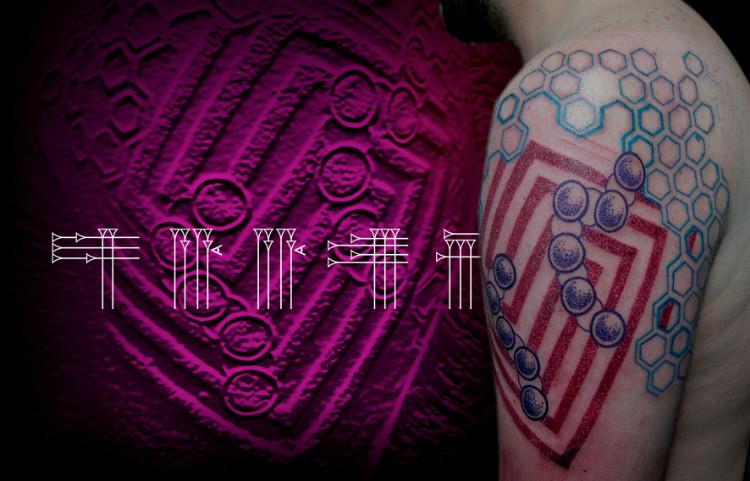 Tattoo abstracto con puntillismo