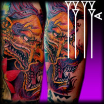 Dragon tattoo color in arm New Japanese