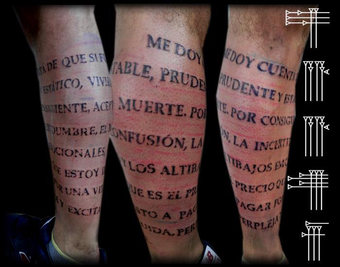 Lettering tattoo on leg