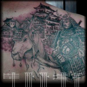 Paisaje japonés con guerrero