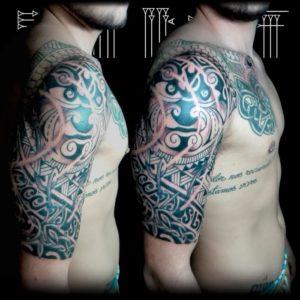 Maori con toques de céltico media manga y pecho hombre
