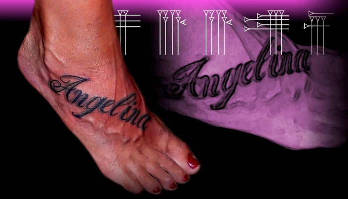 Lettering tattoo on feets
