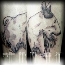 Tatuaje de perro blanco con piedra en la boca