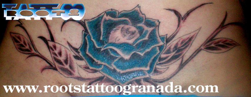 Tatuaje rosa azul pubis chica