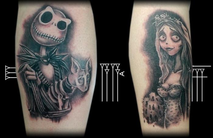 Tatuaje jack y novia cadáver