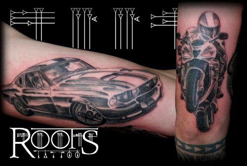 Tatuaje de coche y moto
