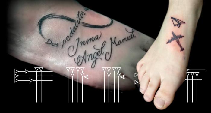 Tattoo infinito, avion de papel, nombres