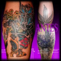 Tattoo estilo cómic en la pierna