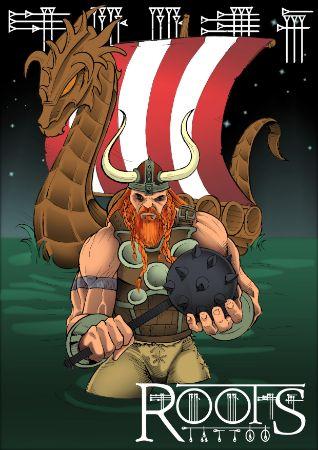 Nave vikinga y guerrero