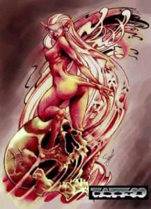 Diseño Flash para tatuajes mujer diablo o diablesa sobre calavera con espíritus, Serafín Rabé, Roots Tattoo Granada, Spain